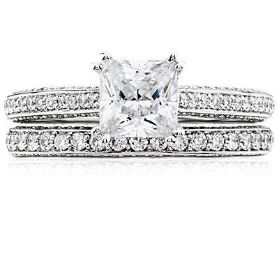 Bague d'éternité en diamants sertis pavé trio en platine (4/5carats, poids total)