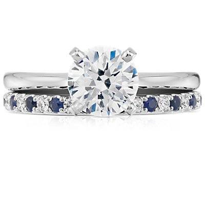 Riviera Pavé Sapphire and Diamond Ring in Platinum (1.5mm)