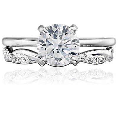 Bague d'éternité diamants torsadée petite taille en or blanc 14carats (1/5carat, poids total)