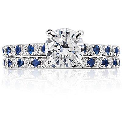 Anillo con pavé de diamantes y zafiros Riviera en oro blanco de 14k (1,5mm)
