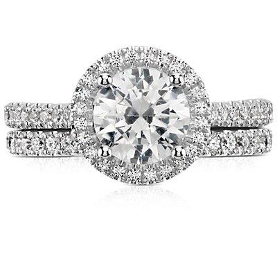 Anillo con pavé de diamantes Riviera en oro blanco de 14k (1/4 qt. total)