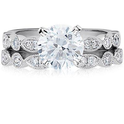 Bague de fiançailles diamant marquise mille-grains et pois en or blanc 14carats (1/5carat, poids total)