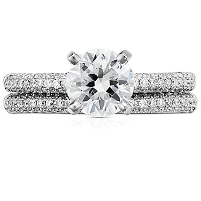 Trio Micropavé Diamond Wedding Ring in 14K White Gold (1/3 ct. tw.)