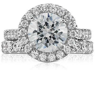 14k 白金Riviera 密釘鑽石戒指( 1/2 克拉總重量)