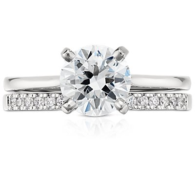 Petite Cathedral Pavé Diamond Ring in Platinum (1/6 ct. tw.)