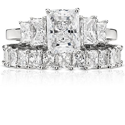 Bague d'éternité diamant taille radiant en platine (3,00 carat, poids total)