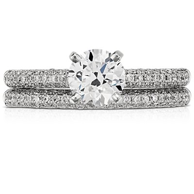Alliance en diamants sertis micro-pavé trio en platine (1/3 carat, poids total)
