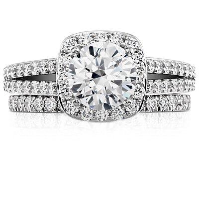 Anillo de pavé de diamantes pequeño en oro blanco de 14k (1/3 qt. total)