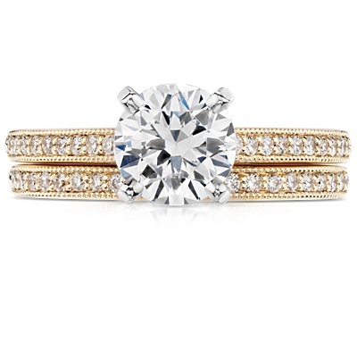 Petite bague diamants sertis pavé bijou de famille en or jaune 18carats (1/8carat, poids total)