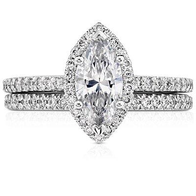 Alliance en diamants sertis pavé en or blanc 14carats (1/6carat, poids total)