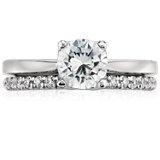 Bague diamant serti pavé français Monique Lhuillier en platine (1/5carat, poids total)