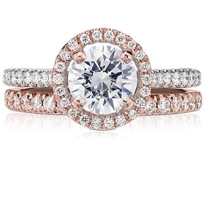 Bague diamant serti pavé français en or rose 14carats (1/4carat, poids total)