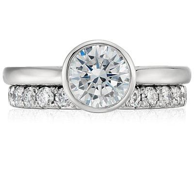 Bague d'éternité diamant serti pavé français en platine (1carat, poids total)