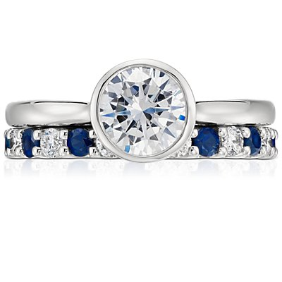 Luna Sapphire and Diamond Eternity Ring in Platinum (1 ct. tw.)