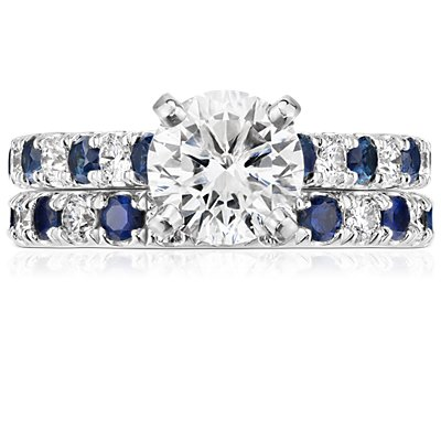 Riviera Pave Sapphire and Diamond Eternity Ring in Platinum (2/3 ct. tw.)