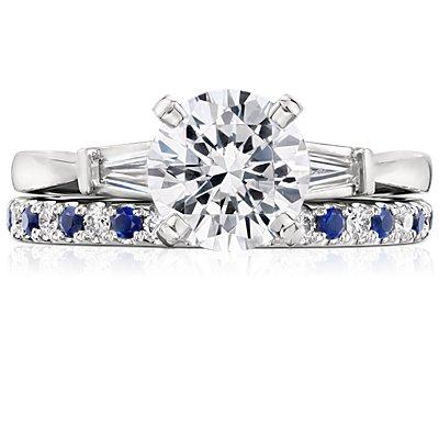 Riviera Pavé Sapphire and Diamond Ring in Platinum