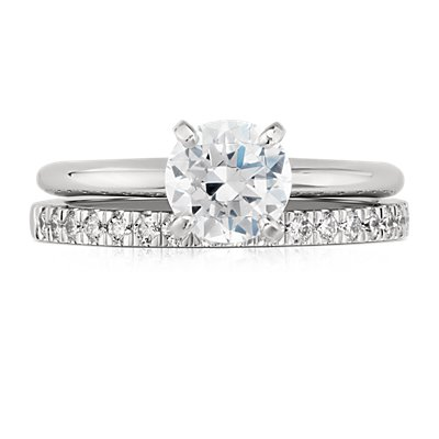 Petite Pavé Diamond Ring in Platinum