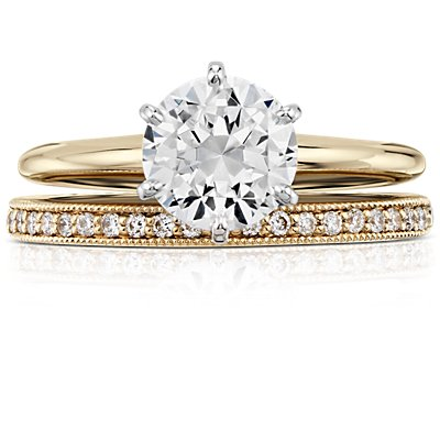 Heirloom Petite Pavé Diamond Ring in 18k Yellow Gold (1/8 ct. tw.)