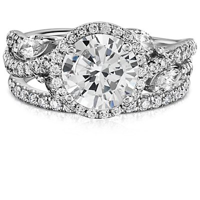 Monique Lhuillier French Pavé Diamond Ring in Platinum (1/5 ct. tw)