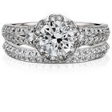 Monique Lhuillier Knife-Edge Diamond Ring in Platinum
