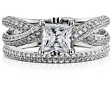 Monique Lhuillier Double Diamond Ring in Platinum (1/3 ct. tw.)