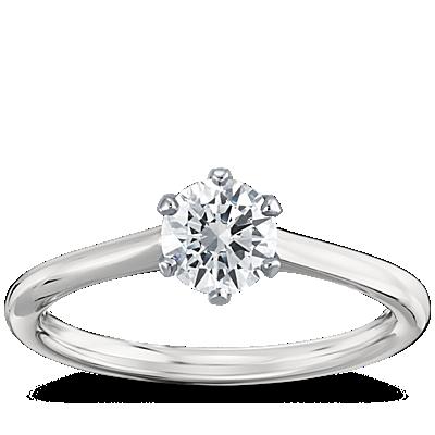 3/4 Carat Preset Blue Nile Signature Solitaire Engagement Ring in Platinum