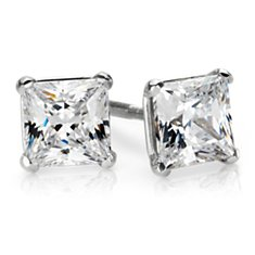 Martini Four Claw Earrings in 14K White Gold