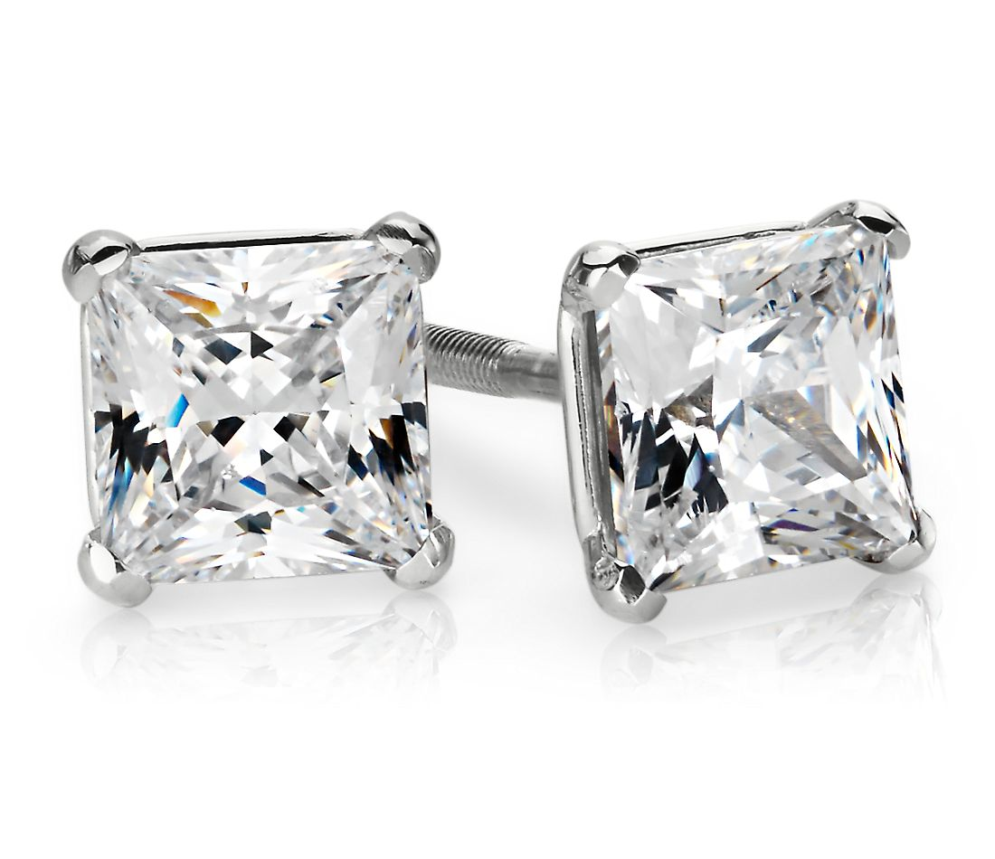 Martini Four-Prong Earrings in 14K White Gold