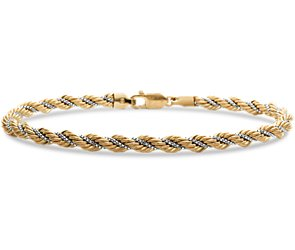 Rope Chain Bracelet in 14k Yellow and White Gold