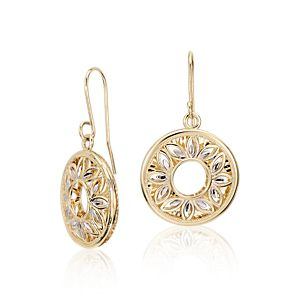 NEW Floral Filigree Earrings in 14k Yellow and White Gold