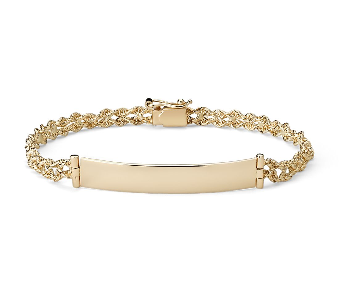 engraveable id bracelet in 14k yellow gold blue nile