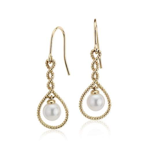 Freshwater Cultured Pearl Roped Infinity Dangle Earrings in 14k Yellow Gold (6.5mm)