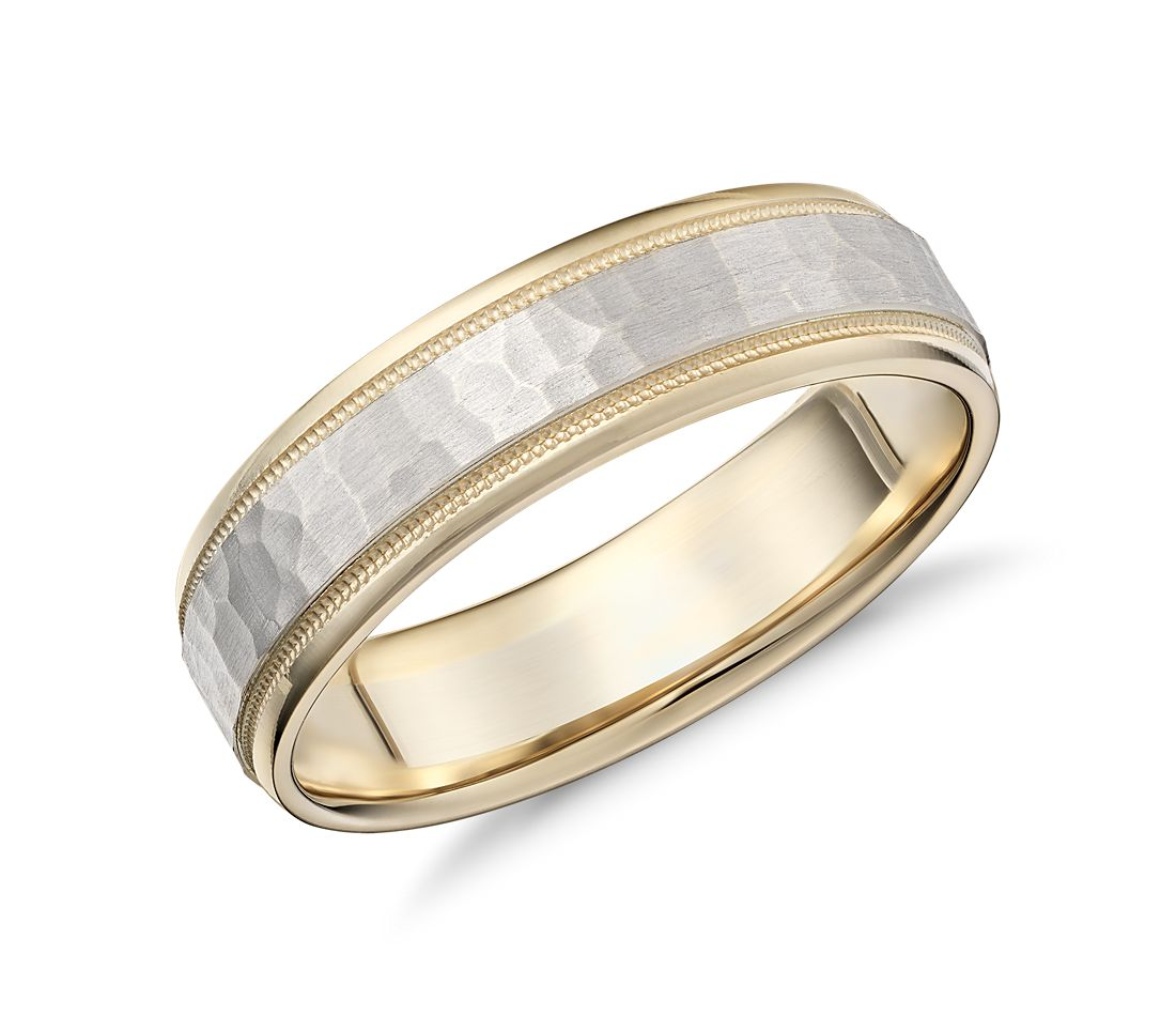Hammered Milgrain Comfort Fit Wedding Band in 14K Yellow and White Gold (6mm)