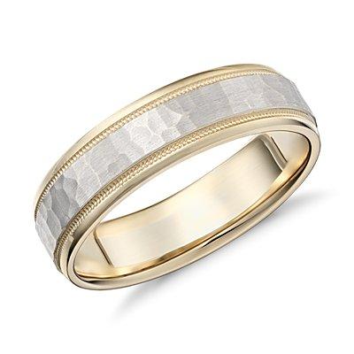14k 黃金和白金錘打式鋸狀內圈卜身設計結婚戒指( 6毫米)