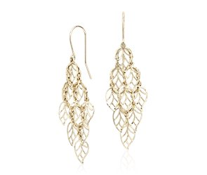 Leaf Chandelier Earrings in 14k Yellow Gold