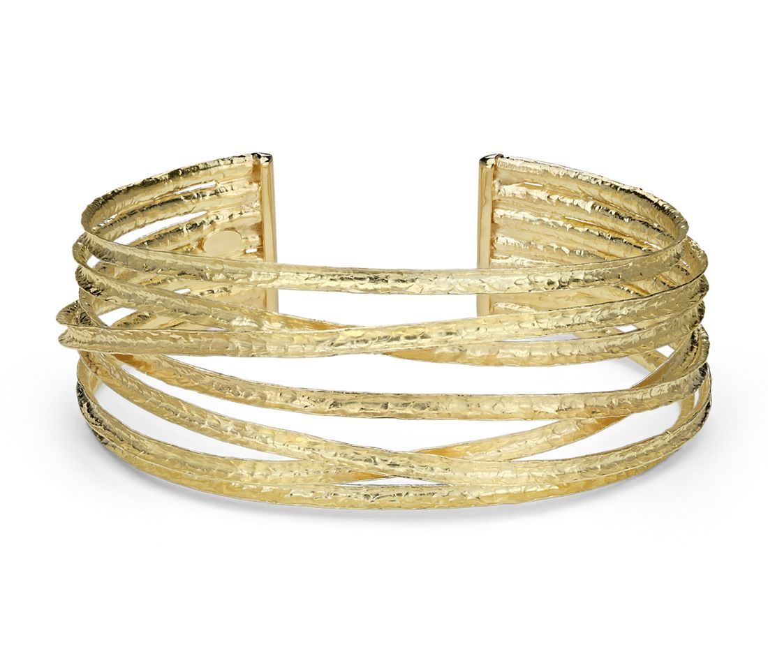 textured cuff bracelet in 18k yellow gold blue nile