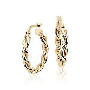NEW Twisted Hoop Earrings in 14k Yellow Gold