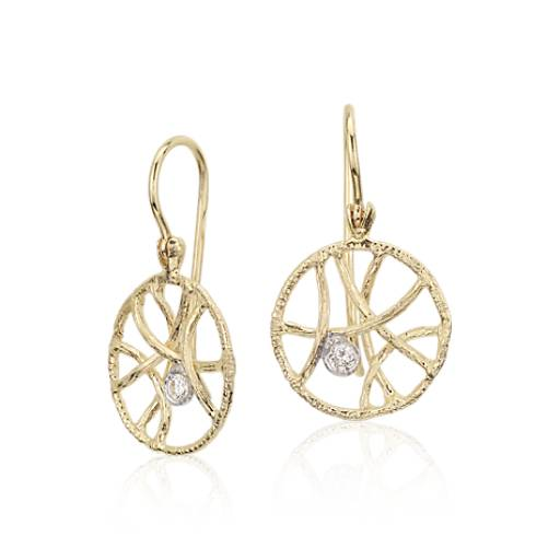 Organic Diamond Drop Earrings in 14k Yellow Gold
