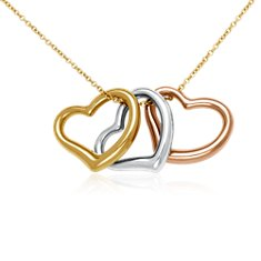 Triple Heart Pendant in 14k Tri-Color Gold