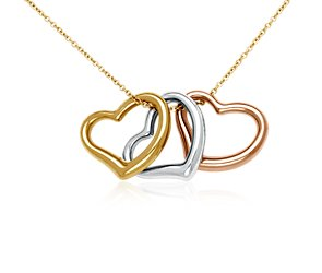 Heart Pendant in 14k Tri-Color Gold