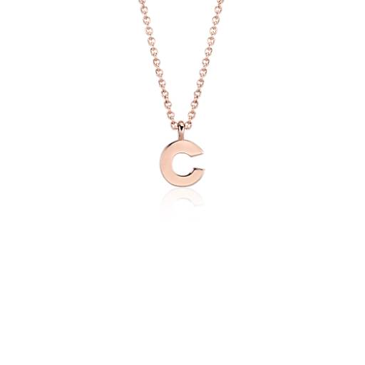 """C"" Mini Initial Pendant in 14k Rose Gold"
