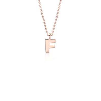"""F"" Mini Initial Pendant in 14k Rose Gold"