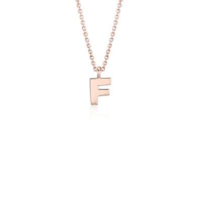 Pendentif petite initiale «F» en or rose 14carats