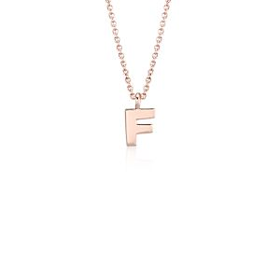 """F"" Mini Initial Pendant in 14k Rose Gold"