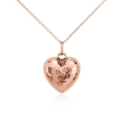 Hammered Heart Pendant in 14k Rose Gold
