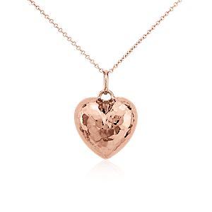 Pendentif cœur martelé en or rose 14carats