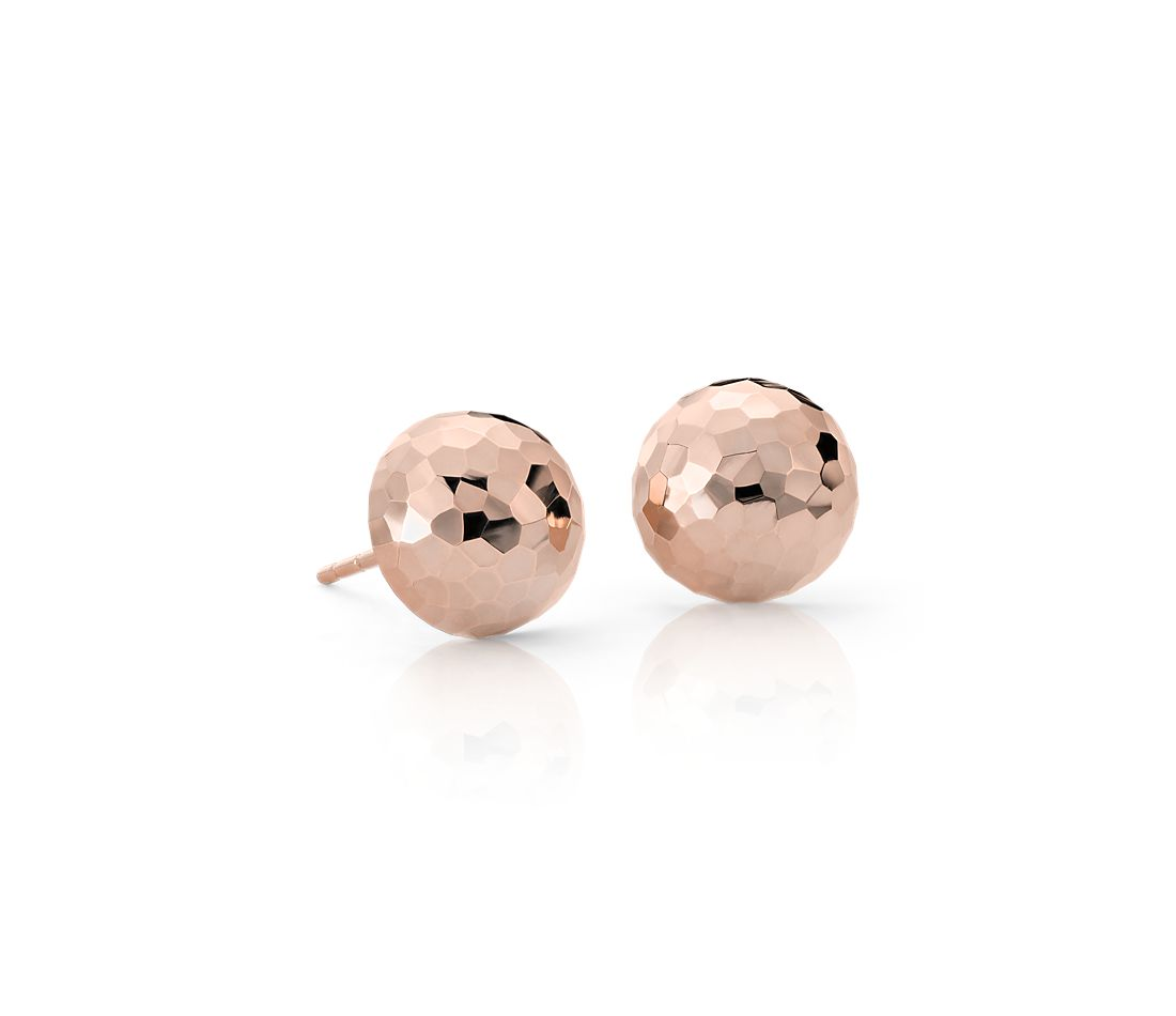 14k Rose Gold Stud Earrings Hammered Stud Earrings in 14k