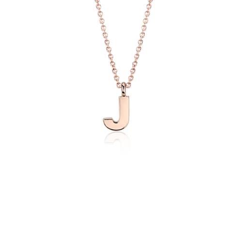 """""""J"""" Mini Initial Pendant in 14k Rose Gold"""