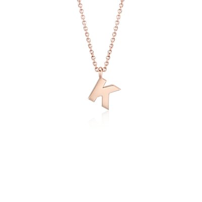 """K"" Mini Initial Pendant in 14k Rose Gold"