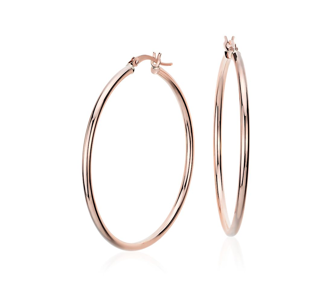 "Large Hoop Earrings in 14k Rose Gold (1 5/8"")"